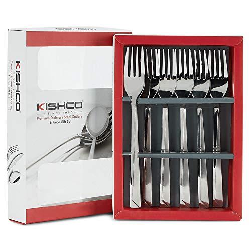 Kishco Stainless Steel Olympus Dessert/Dinner Fork Gift Set   Pack of 6