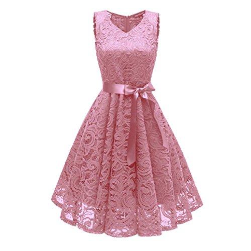 (Vintage Princess Dress for Women Swing Dress Floral Lace Cocktail V-Neck Party Aline)
