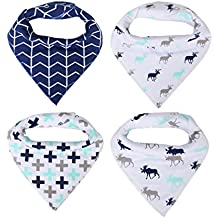 Baby Bandana Bibs, Hoyoki Unisex Triangle Scarf Bib for Drooling and Teething, Organic Cotton, Soft and Absorbent, Set of 4