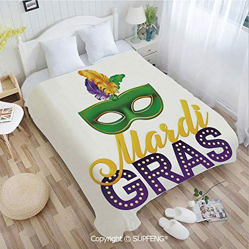 Super Soft Blankets Stylized Calligraphy and Typography Carnival Mask with Feathers Print Decorative(W39.4xL49.2 inch) Air Conditioning Comfort Warmth for Bedroom/Living Room/Camping ()