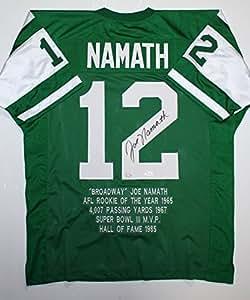 Joe Namath Autographed Green Pro Style Stat Jersey- JSA W Auth/Holo