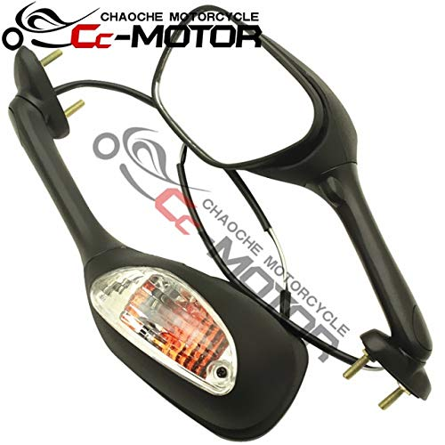FINCOS Smoke Or Clear Rearview Side Mirrors w/LED Signal Light Lamp for Suzuki GSXR600/750 K6 K8 2006-2015 / GSXR1000 K5 K7 2005-2015 - (Color: Black Clear Lens)