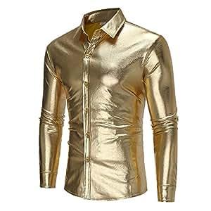 Amazon.com: YaXuan - Camisa de hombre, color dorado y ...