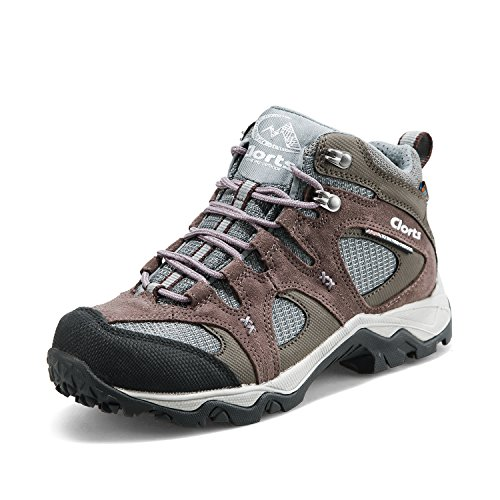 Clorts Women's Suede Uneebtex Mid Waterproof Hiking Boot Outdoor Backpacking Shoe Purple HKM-820I US5.5