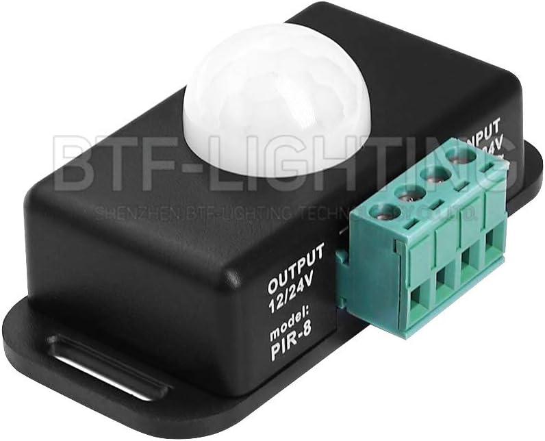 BTF-LIGHTING 12V 24V PIR Sensor de Movimiento LED Interruptor Movimiento Temporizador Función Control de señal Controlador PIR Tira de iluminación LED