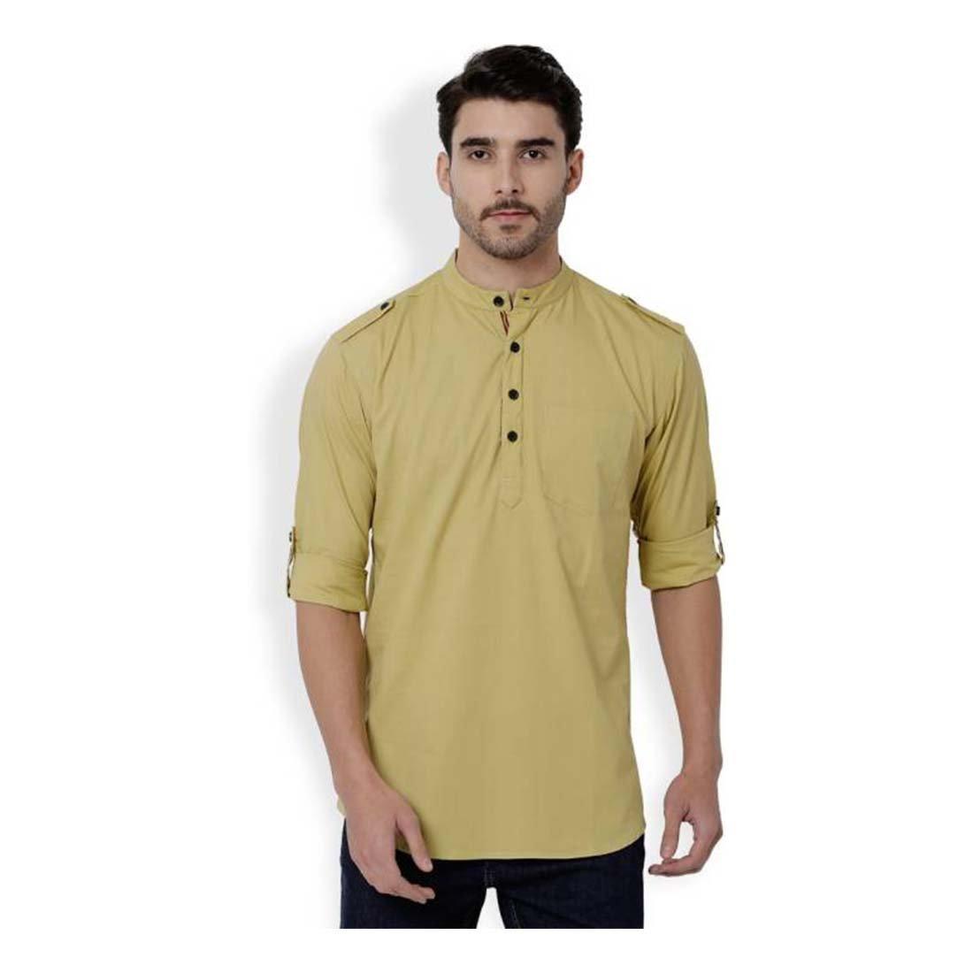 Indian Handicrfats Export Mens Brown Solid Full Sleeve Kurta