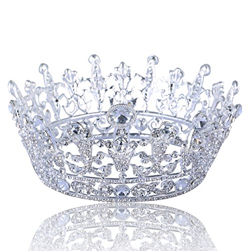 Langxun Handmade Birthday Queen Crystal Rhinestones Silver Crown - Mother Crown Queen