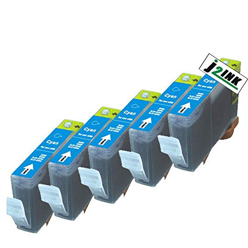 J2INK Compatible Ink Cartridge Replacement For Canon CLI-8 CLI8 (5 Cyan) 5 Pack CLI-8C