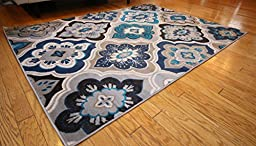 Generations New Contemporary Panel and Diamonds Modern Area Rug, 8\' x 10.2\', Beige/Navy/Coral/Blue/Grey