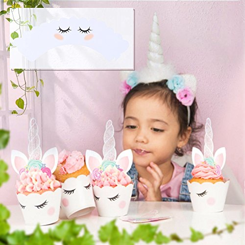 Kabi 5PCS Unicorn Silicone Cake Toppers Mold Set for Baking Cake Decoration Making Sugar Craft Candy Chocolate,with Unicorn Cupcake Toppers & Wrappers Double Sided 12 Sets by Kabi (Image #4)