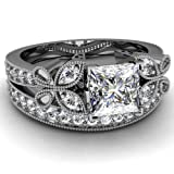 0.90 Ct Princess Cut Diamond Vintage Fleur Engagement Wedding Rings Set VVS1 14K GIA