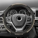 honda civic 2003 steering wheel - FH Group FH2002BEIGEBLACK Steering Wheel Cover (Deluxe Full Grain Authentic Leather Beige/Black)