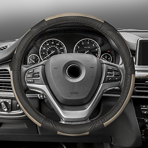 FH Group FH2002BEIGEBLACK Steering Wheel Cover (Deluxe Full Grain Authentic Leather Beige/Black) 1999 Audi A4 Steering