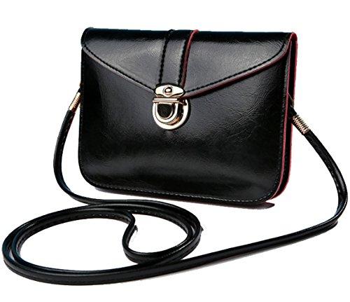 edfamily Women Girls Mini Handbags Leather Crossbody Single Shoulder Bag Cellphone Pouch Purse Wallet(Black)
