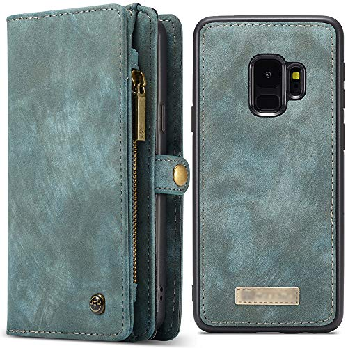 Galaxy S9 Plus Leather Magnetic Phone Case Wallet Detachable Flip Blue Cover Case with Card - Phone Case Fire Wallet Leather