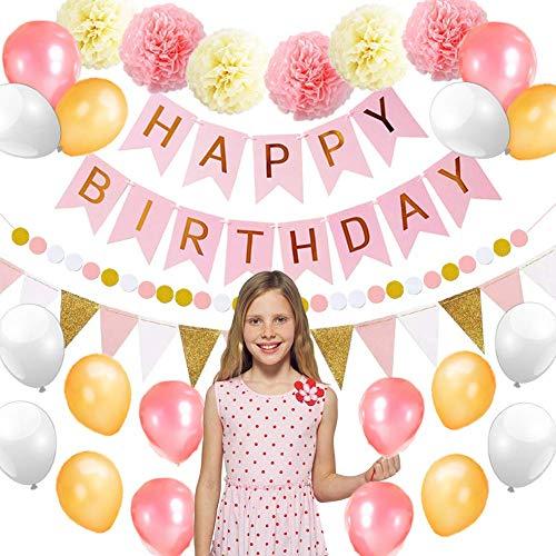Birthday Decorations Party Supplies, XinXu 46 Pink and Gold Birthday Party Decorations Supplies, Happy Birthday Banner, Birthday Party Balloons, Pompoms Flowers, Flowers Clips, Party Supplies for Girl