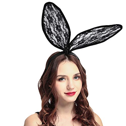 Sexy Bunny Ears Black Lace Headdress for Halloween Make Up Head Band with -