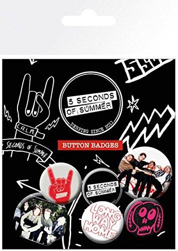 5 Seconds of Summer Paquet De Badges - Mix 2, 4 X 25mm & 2 X 32mm Badges (15 x 10 cm) 1art1®