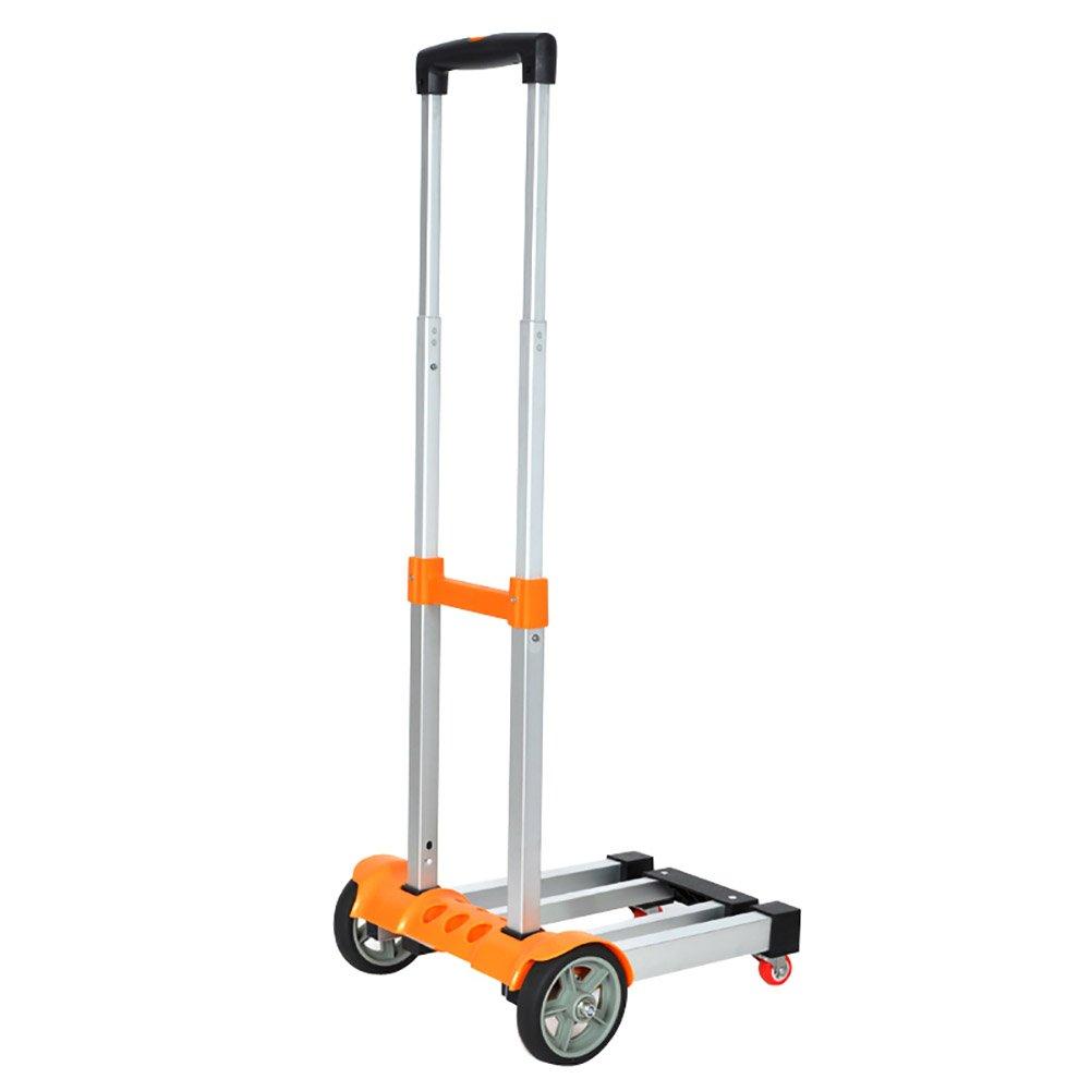 ZGL トラック アルミ合金プルロッドカーフォールド荷物カートポータブルハンドカープルグッズトロリーホームエフォートカー ( 色 : オレンジ ) B07CCGDW4G オレンジ オレンジ