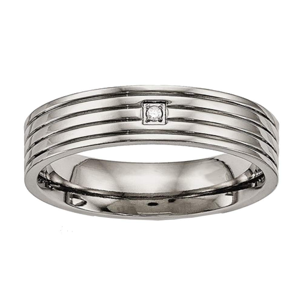 Titanium Polished Grooved Comfort Back CZ Ring Size 12.5 Length Width 5