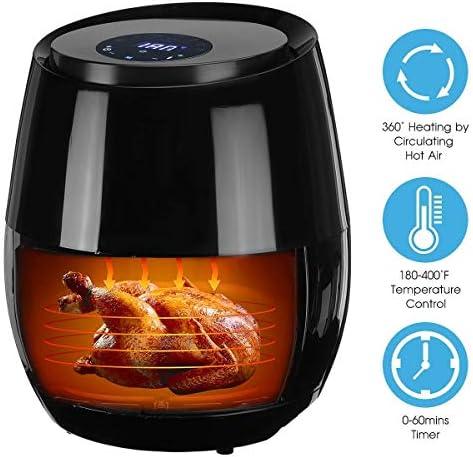 zyl Friteuse à air friteuse électrique sans Huile 3L minuterie et contrôle de température réglable pour Une Cuisson Faible en Gras sans Huile 1350W