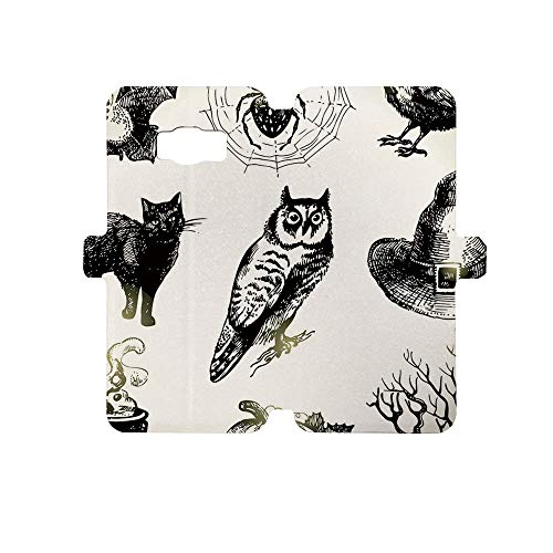 Premium PU Leather Magnetic Flip Folio Protective Sleeve for Samsung Galaxy S8,Vintage Halloween,Halloween Related Pictures Drawn by Hand Raven Owl Spider Black Cat Decorative,Black White