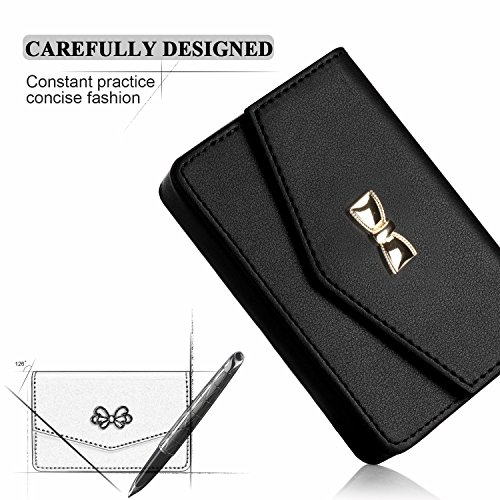 Business card holder, FYY 100% Handmade Premium Leather Business Name Card Case Universal Card Holder with Magnetic Closure (Hold 30 pics of cards) Black Photo #6