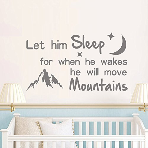 Wall Decal Decor Let Him Sleep for When He Wakes He Will Move Mountains - Baby Crib Wall Decor Nursery Kids Boys Room Wall Decal Quote (Dark Gray, 13 h x22 w) 13 h x22 w) Bobbit
