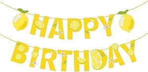 Lemon Happy Birthday Banner,Lemonade Birthday Banner,Soda Banner for Summer Cool Party,Decorations,Boys,Girls,Kids,Office,Home,Classroom,Bedroom