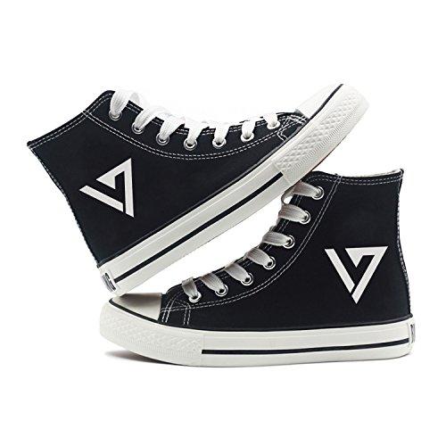 Fanstown Kpop Sneakers Toile Chaussures Taille Des Femmes Noir Fanshion Memeber Hiphop Style Ventilateur Support Avec Lomo Carte Dix-sept