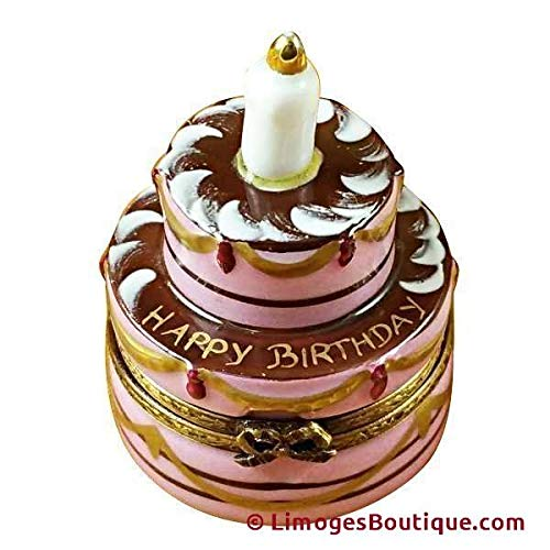French Limoges Boxes Boutique BIRTHDAY CAKE W/CANDLE - LIMOGES PORCELAIN FIGURINE BOXES AUTHENTIC IMPORTS