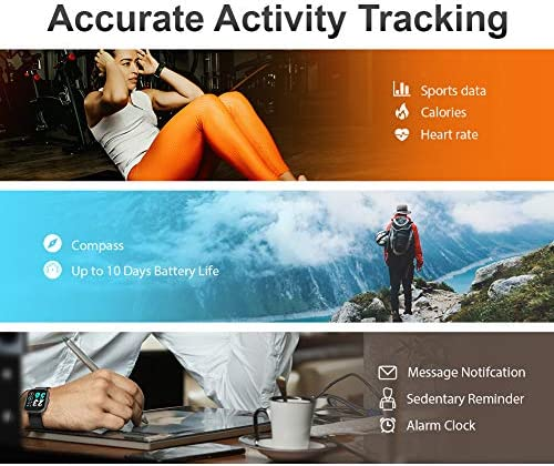 Smart Watch, UXD Fitness Activity Tracker with Sleep Heart Rate Monitor for Men Women 5ATM Waterproof Pedometer Smartwatches for iPhone Samsung Android Phones 51kRfTISlHL