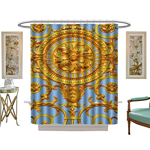 - luvoluxhome Shower Curtains Fabric Detail of gen Door of Versailles Palace France Bathroom Decor Set with Hooks W72 x L96