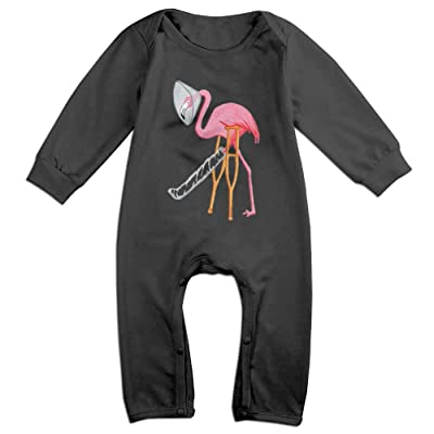 A Hurted Flamingo Novelty Baby Girl Boy Long Sleeve Crawling Clothes Cartoon Baby Clothes Long Sleeve Onesies Romper White