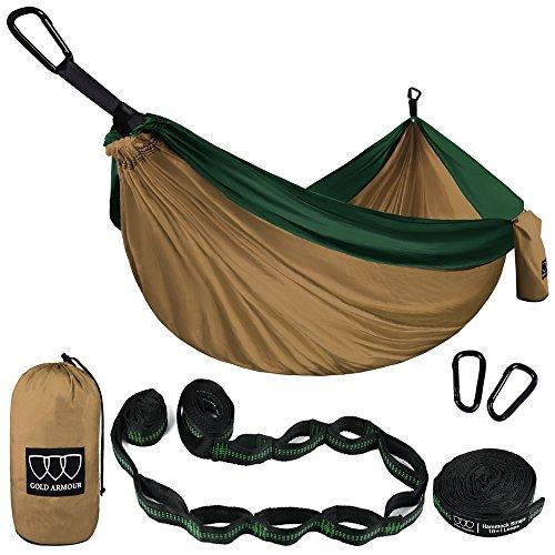 XL Double Parachute Camping Hammock - Tree Portable with Max 1000 lbs Breaking Capacity - FREE 16 Loops Tree Strap & Carabiners For Backpacking, Camping, Hiking, Travel, Yard (Khaki / Dark Green)