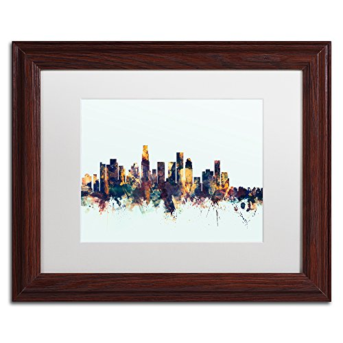 Los Angeles CA Skyline Blue by Michael Tompsett, White Matte, Wood Frame 11x14-Inch (Green Egg Angeles Big Los)