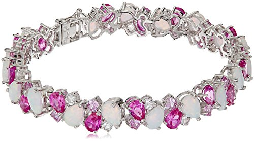 Sterling Silver Created Opal, Created Pink and White Sapphire Cluster Bracelet, 7.25'' by Amazon Collection