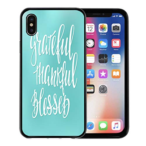 Emvency Phone Case for Apple iPhone Xs Case/iPhone X Case,Grateful Thankful Blessed Simple Lettering Graphic Hand Written Thanksgiving Soft Rubber Border Decorative, Black ()