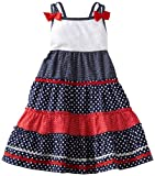 Youngland Girls 2-6X Sleeveless Tier Nautical Sundress With Lace Detail At Bodice, Red/White/Blue, 5 image