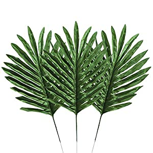 Houkr 24 PCS Artificial Palm Leaves, Fake Lifelike Simulation Silk Tropical Plants, for Home Kitchen Party Flowers Arrangement Wedding Decorations 110