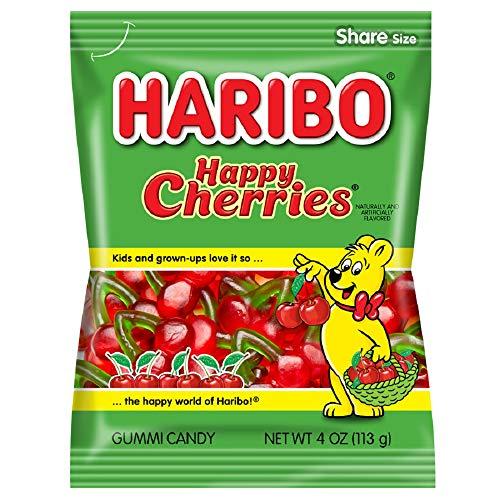 Gummi Twin Cherries - Haribo Gummi Candy, Happy-Cherries, 4 ounce (Pack of 12)