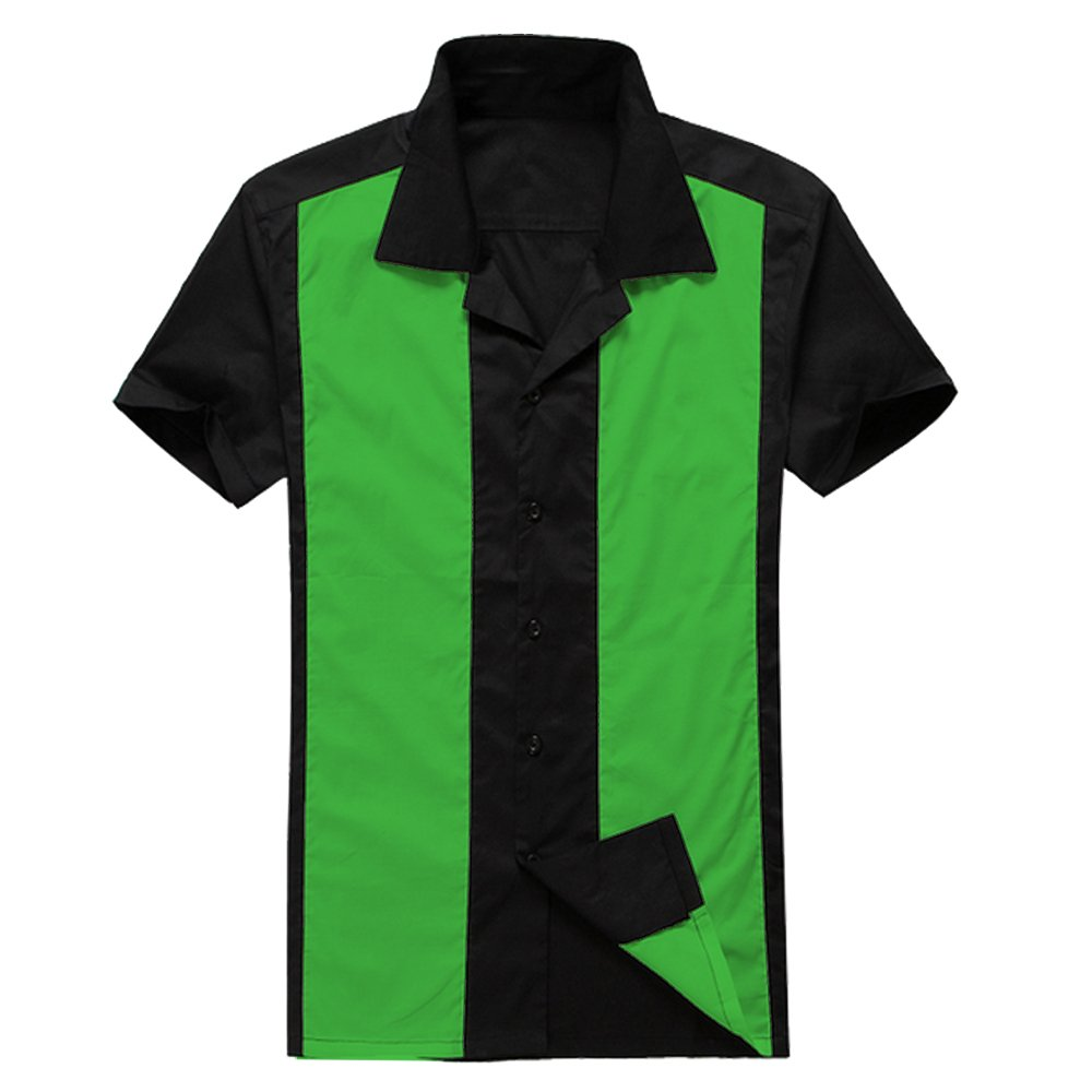 Candow Look Mens Black Green Collared Buttons Up Plus Size Bowling