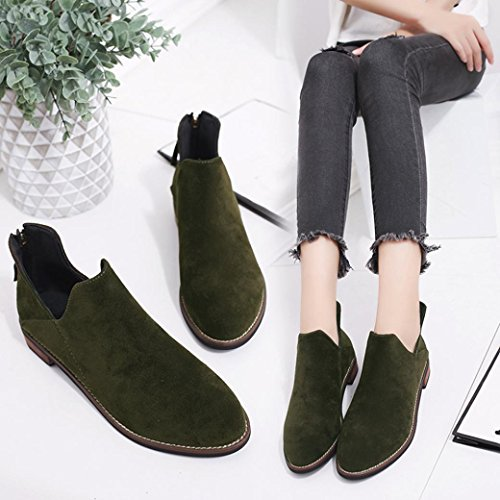 Amiley Hot sale Women Buckle Ladies Faux Zip Solid Warm snow Boots Ankle Boots Martin Shoes Green S8yu6K