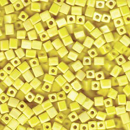 Seed Ab Beads Matte - 20Gr Opaque Yellow Matte Ab Miyuki 4mm Square Cube Glass Seed Beads
