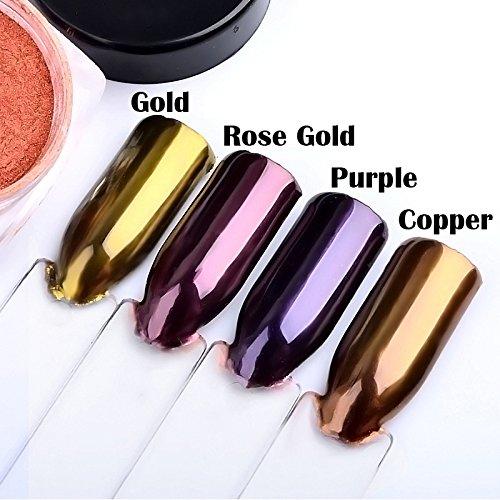 Artlalic 4 Box Mirror Chrome Powder Shiny Rose Gold/Purple/Gold/Light Gold Mirror Effect Nail Glitter Powder Dust Nails Art Pigment DIY Nail Decoration Manicure