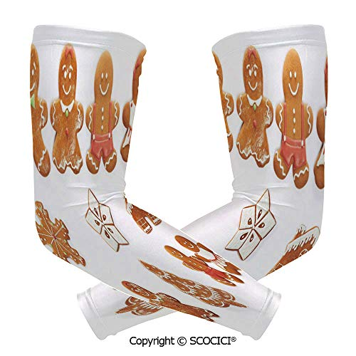 Comfort and Durable Lightweight Arm Guard Sleeve Vivid Cute Christmas Gingerbread Biscuits Set Snowflake House Tree Decorative Breathable, Flexible Sleeves Protection