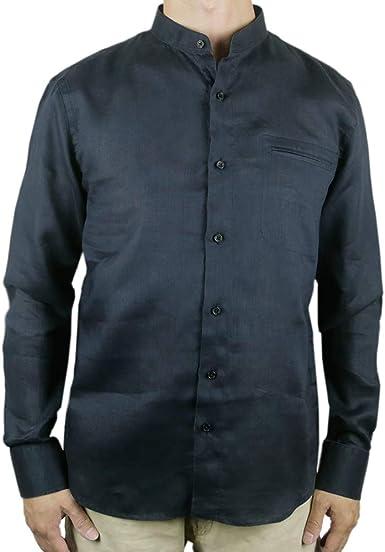 Camisa de Cuello Mao con Botones de Lino, Color Negro: Amazon.es: Ropa y accesorios