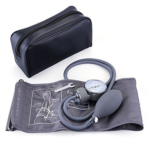 Aneroid Sphygmomanometer, LotFancy Blood Pressure Gauge with Manual Blood Pressure Cuff for Adults, Carrying Case and Calibrator Included, FDA Approved