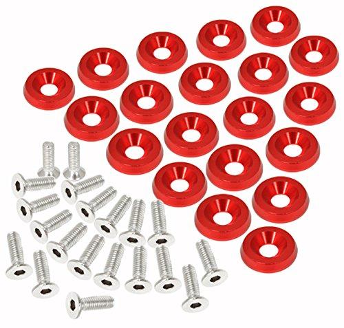 Jdm Engine Parts (Universal 20 Piece M6 Engine Bay Jdm Billet Aluminum Dress Up Fender Washer Red)