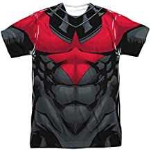 Batman Franchise Nightwing Muscular Red Uniform Adult Front Print T-Shirt